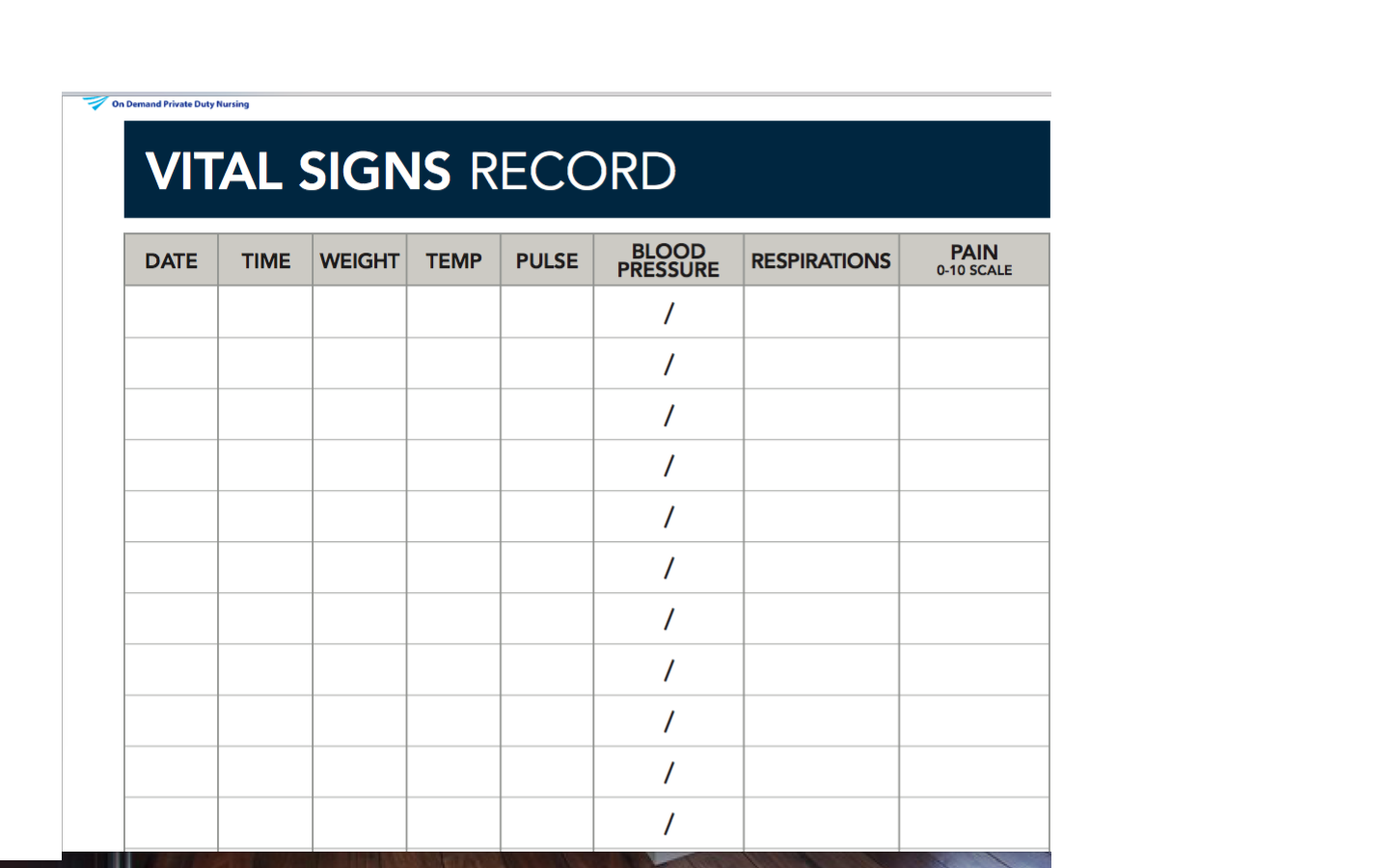 Record Vital Sign Template